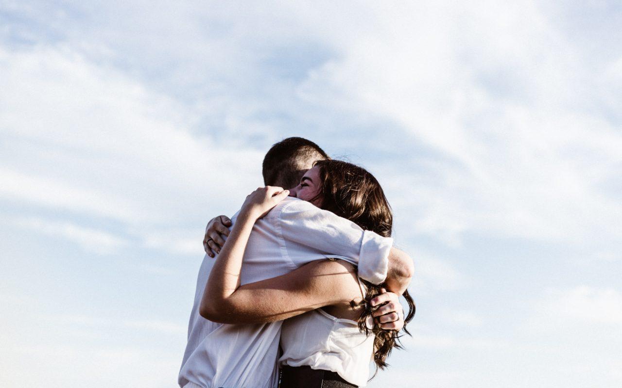 Hugging words.